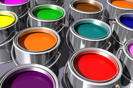 Paint cans with different colors of paint