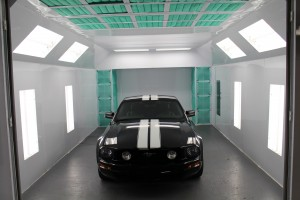 One of our paint booths with a car